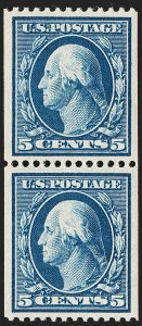 Sale Number 1202, Lot Number 2341, 1908-12 Perf 12 Vertical Coils, Double-Line Watermark (Scott 348-351)5c Blue, Coil (351), 5c Blue, Coil (351)