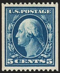 Sale Number 1202, Lot Number 2342, 1908-12 Perf 12 Vertical Coils, Double-Line Watermark (Scott 348-351)5c Blue, Coil (351), 5c Blue, Coil (351)