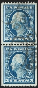 Sale Number 1202, Lot Number 2343, 1908-12 Perf 12 Vertical Coils, Double-Line Watermark (Scott 348-351)5c Blue, Coil (351), 5c Blue, Coil (351)