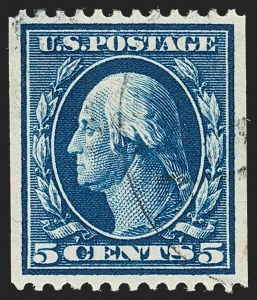 Sale Number 1202, Lot Number 2344, 1908-12 Perf 12 Vertical Coils, Double-Line Watermark (Scott 348-351)5c Blue, Coil (351), 5c Blue, Coil (351)