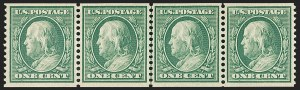 Sale Number 1202, Lot Number 2345, 1908-12 Perf 12 Horizontal Coils, Double-Line Watermark (Scott 352-356)1c Green, Coil (352), 1c Green, Coil (352)