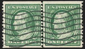 Sale Number 1202, Lot Number 2349, 1908-12 Perf 12 Horizontal Coils, Double-Line Watermark (Scott 352-356)1c Green, Coil (352), 1c Green, Coil (352)