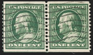 Sale Number 1202, Lot Number 2350, 1908-12 Perf 12 Horizontal Coils, Double-Line Watermark (Scott 352-356)1c Green, Coil (352), 1c Green, Coil (352)