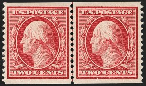 Sale Number 1202, Lot Number 2351, 1908-12 Perf 12 Horizontal Coils, Double-Line Watermark (Scott 352-356)2c Carmine, Coil (353), 2c Carmine, Coil (353)