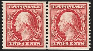 Sale Number 1202, Lot Number 2352, 1908-12 Perf 12 Horizontal Coils, Double-Line Watermark (Scott 352-356)2c Carmine, Coil (353), 2c Carmine, Coil (353)