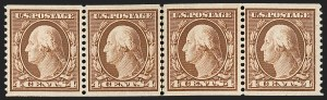 Sale Number 1202, Lot Number 2355, 1908-12 Perf 12 Horizontal Coils, Double-Line Watermark (Scott 352-356)4c Orange Brown, Coil (354), 4c Orange Brown, Coil (354)