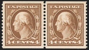 Sale Number 1202, Lot Number 2357, 1908-12 Perf 12 Horizontal Coils, Double-Line Watermark (Scott 352-356)4c Orange Brown, Coil (354), 4c Orange Brown, Coil (354)