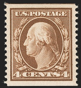 Sale Number 1202, Lot Number 2358, 1908-12 Perf 12 Horizontal Coils, Double-Line Watermark (Scott 352-356)4c Orange Brown, Coil (354), 4c Orange Brown, Coil (354)