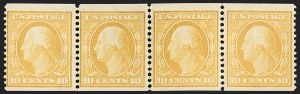 Sale Number 1202, Lot Number 2369, 1908-12 Perf 12 Horizontal Coils, Double-Line Watermark (Scott 352-356)10c Yellow, Coil (356), 10c Yellow, Coil (356)