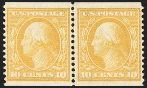 Sale Number 1202, Lot Number 2370, 1908-12 Perf 12 Horizontal Coils, Double-Line Watermark (Scott 352-356)10c Yellow, Coil (356), 10c Yellow, Coil (356)