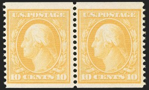 Sale Number 1202, Lot Number 2371, 1908-12 Perf 12 Horizontal Coils, Double-Line Watermark (Scott 352-356)10c Yellow, Coil (356), 10c Yellow, Coil (356)