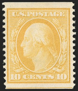 Sale Number 1202, Lot Number 2372, 1908-12 Perf 12 Horizontal Coils, Double-Line Watermark (Scott 352-356)10c Yellow, Coil (356), 10c Yellow, Coil (356)