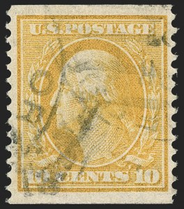 Sale Number 1202, Lot Number 2374, 1908-12 Perf 12 Horizontal Coils, Double-Line Watermark (Scott 352-356)10c Yellow, Coil (356), 10c Yellow, Coil (356)