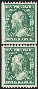 Sale Number 1202, Lot Number 2377, 1910 Perf 12 Vertical Coils, Single-Line Watermark (Scott 385-386)1c Green, Coil (385), 1c Green, Coil (385)