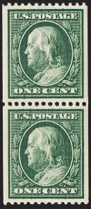 Sale Number 1202, Lot Number 2378, 1910 Perf 12 Vertical Coils, Single-Line Watermark (Scott 385-386)1c Green, Coil (385), 1c Green, Coil (385)