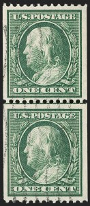 Sale Number 1202, Lot Number 2380, 1910 Perf 12 Vertical Coils, Single-Line Watermark (Scott 385-386)1c Green, Coil (385), 1c Green, Coil (385)