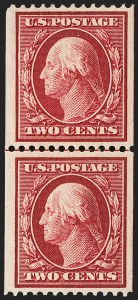 Sale Number 1202, Lot Number 2383, 1910 Perf 12 Vertical Coils, Single-Line Watermark (Scott 385-386)2c Carmine, Coil (386), 2c Carmine, Coil (386)