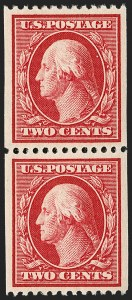 Sale Number 1202, Lot Number 2384, 1910 Perf 12 Vertical Coils, Single-Line Watermark (Scott 385-386)2c Carmine, Coil (386), 2c Carmine, Coil (386)