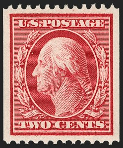 Sale Number 1202, Lot Number 2385, 1910 Perf 12 Vertical Coils, Single-Line Watermark (Scott 385-386)2c Carmine, Coil (386), 2c Carmine, Coil (386)
