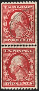 Sale Number 1202, Lot Number 2386, 1910 Perf 12 Vertical Coils, Single-Line Watermark (Scott 385-386)2c Carmine, Coil (386), 2c Carmine, Coil (386)