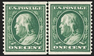 Sale Number 1202, Lot Number 2388, 1910-11 Perf 12 Horizontal Coils, Single-Line Watermark (Scott 387-389)1c Green, Coil (387), 1c Green, Coil (387)