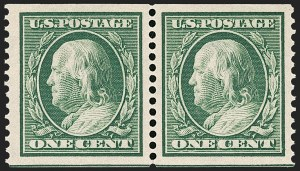 Sale Number 1202, Lot Number 2389, 1910-11 Perf 12 Horizontal Coils, Single-Line Watermark (Scott 387-389)1c Green, Coil (387), 1c Green, Coil (387)