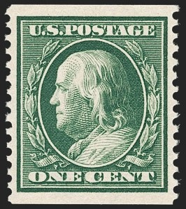 Sale Number 1202, Lot Number 2390, 1910-11 Perf 12 Horizontal Coils, Single-Line Watermark (Scott 387-389)1c Green, Coil (387), 1c Green, Coil (387)