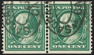 Sale Number 1202, Lot Number 2391, 1910-11 Perf 12 Horizontal Coils, Single-Line Watermark (Scott 387-389)1c Green, Coil (387), 1c Green, Coil (387)