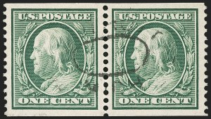 Sale Number 1202, Lot Number 2392, 1910-11 Perf 12 Horizontal Coils, Single-Line Watermark (Scott 387-389)1c Green, Coil (387), 1c Green, Coil (387)
