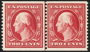 Sale Number 1202, Lot Number 2393, 1910-11 Perf 12 Horizontal Coils, Single-Line Watermark (Scott 387-389)2c Carmine, Coil (388), 2c Carmine, Coil (388)