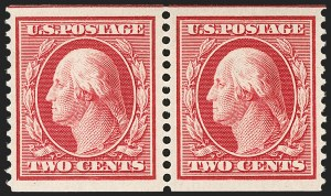 Sale Number 1202, Lot Number 2394, 1910-11 Perf 12 Horizontal Coils, Single-Line Watermark (Scott 387-389)2c Carmine, Coil (388), 2c Carmine, Coil (388)