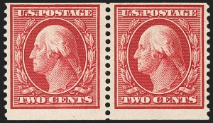 Sale Number 1202, Lot Number 2395, 1910-11 Perf 12 Horizontal Coils, Single-Line Watermark (Scott 387-389)2c Carmine, Coil (388), 2c Carmine, Coil (388)