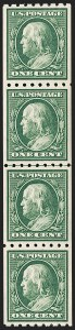 Sale Number 1202, Lot Number 2399, 1910 Perf 8.5 Vertical Coils, Single-Line Watermark (Scott 390-391)1c Green, Coil (390), 1c Green, Coil (390)