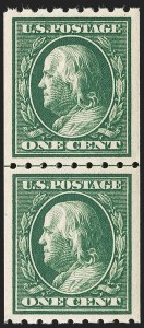 Sale Number 1202, Lot Number 2400, 1910 Perf 8.5 Vertical Coils, Single-Line Watermark (Scott 390-391)1c Green, Coil (390), 1c Green, Coil (390)