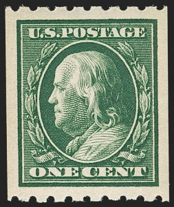 Sale Number 1202, Lot Number 2402, 1910 Perf 8.5 Vertical Coils, Single-Line Watermark (Scott 390-391)1c Green, Coil (390), 1c Green, Coil (390)