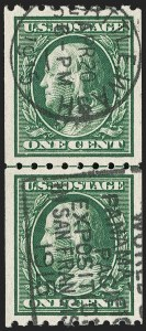 Sale Number 1202, Lot Number 2403, 1910 Perf 8.5 Vertical Coils, Single-Line Watermark (Scott 390-391)1c Green, Coil (390), 1c Green, Coil (390)