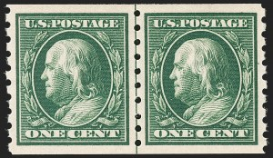 Sale Number 1202, Lot Number 2412A, 1910 Perf 8.5 Vertical Coils, Single-Line Watermark (Scott 390-391)1c Green, Coil (392), 1c Green, Coil (392)