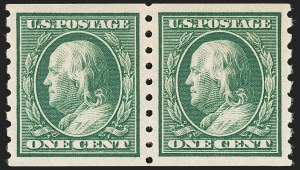 Sale Number 1202, Lot Number 2413, 1910-13 Perf 8.5 Horizontal Coils, Single-Line Watermark (Scott 392-396)1c Green, Coil (392), 1c Green, Coil (392)