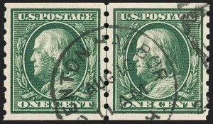 Sale Number 1202, Lot Number 2415, 1910-13 Perf 8.5 Horizontal Coils, Single-Line Watermark (Scott 392-396)1c Green, Coil (392), 1c Green, Coil (392)