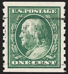 Sale Number 1202, Lot Number 2417, 1910-13 Perf 8.5 Horizontal Coils, Single-Line Watermark (Scott 392-396)1c Green, Coil (392), 1c Green, Coil (392)