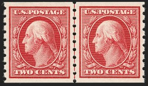 Sale Number 1202, Lot Number 2418, 1910-13 Perf 8.5 Horizontal Coils, Single-Line Watermark (Scott 392-396)2c Carmine, Coil (393), 2c Carmine, Coil (393)