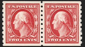 Sale Number 1202, Lot Number 2419, 1910-13 Perf 8.5 Horizontal Coils, Single-Line Watermark (Scott 392-396)2c Carmine, Coil (393), 2c Carmine, Coil (393)