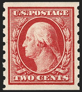 Sale Number 1202, Lot Number 2420, 1910-13 Perf 8.5 Horizontal Coils, Single-Line Watermark (Scott 392-396)2c Carmine, Coil (393), 2c Carmine, Coil (393)