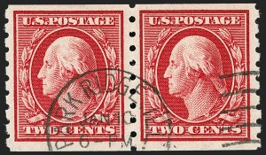 Sale Number 1202, Lot Number 2422, 1910-13 Perf 8.5 Horizontal Coils, Single-Line Watermark (Scott 392-396)2c Carmine, Coil (393), 2c Carmine, Coil (393)