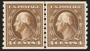 Sale Number 1202, Lot Number 2431, 1910-13 Perf 8.5 Horizontal Coils, Single-Line Watermark (Scott 392-396)4c Brown, Coil (395), 4c Brown, Coil (395)