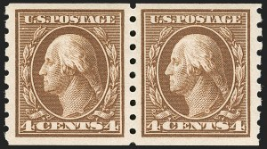 Sale Number 1202, Lot Number 2433, 1910-13 Perf 8.5 Horizontal Coils, Single-Line Watermark (Scott 392-396)4c Brown, Coil (395), 4c Brown, Coil (395)