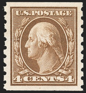 Sale Number 1202, Lot Number 2434, 1910-13 Perf 8.5 Horizontal Coils, Single-Line Watermark (Scott 392-396)4c Brown, Coil (395), 4c Brown, Coil (395)