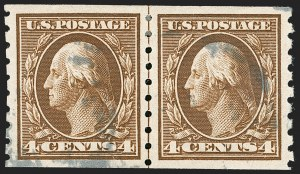 Sale Number 1202, Lot Number 2435, 1910-13 Perf 8.5 Horizontal Coils, Single-Line Watermark (Scott 392-396)4c Brown, Coil (395), 4c Brown, Coil (395)