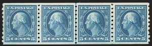 Sale Number 1202, Lot Number 2437, 1910-13 Perf 8.5 Horizontal Coils, Single-Line Watermark (Scott 392-396)5c Blue, Coil (396), 5c Blue, Coil (396)