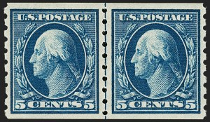 Sale Number 1202, Lot Number 2438, 1910-13 Perf 8.5 Horizontal Coils, Single-Line Watermark (Scott 392-396)5c Blue, Coil (396), 5c Blue, Coil (396)